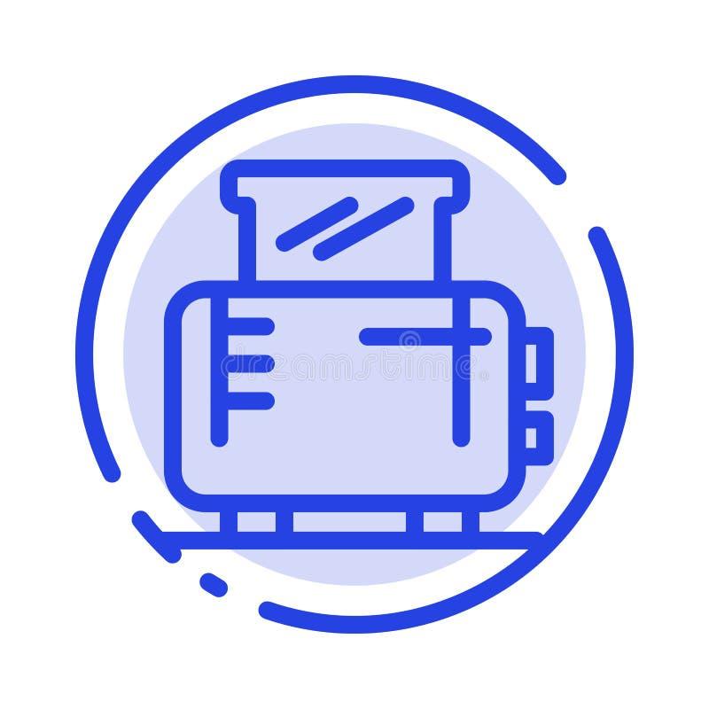 Ηλεκτρικός, σπίτι, μηχανή, μπλε εικονίδιο γραμμών διαστιγμένων γραμμών φρυγανιέρων ελεύθερη απεικόνιση δικαιώματος