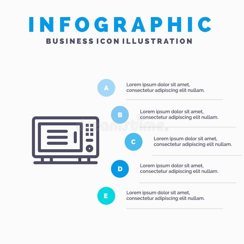 Ηλεκτρικός, σπίτι, μηχανή, μπλε πρότυπο 5 Infographics φούρνων βήματα Διανυσματικό πρότυπο εικονιδίων γραμμών απεικόνιση αποθεμάτων