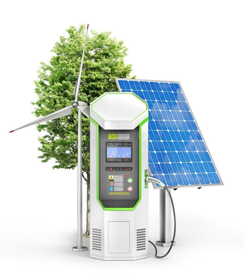 Ηλεκτρικός σταθμός χρέωσης αυτοκινήτων για μηές εκπομπές που απομονώνονται σε ένα μόριο στοκ φωτογραφία με δικαίωμα ελεύθερης χρήσης