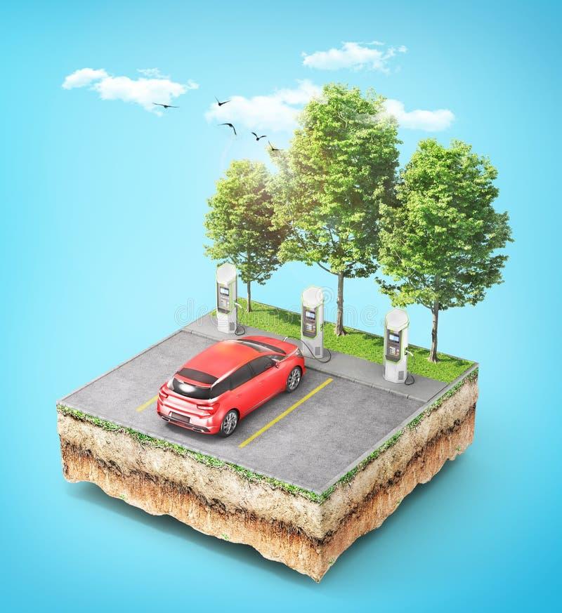 Ηλεκτρικός σταθμός χρέωσης αυτοκινήτων με το αυτοκίνητο για μηές εκπομπές στο κομμάτι του εδάφους με τη χλόη στοκ φωτογραφία με δικαίωμα ελεύθερης χρήσης