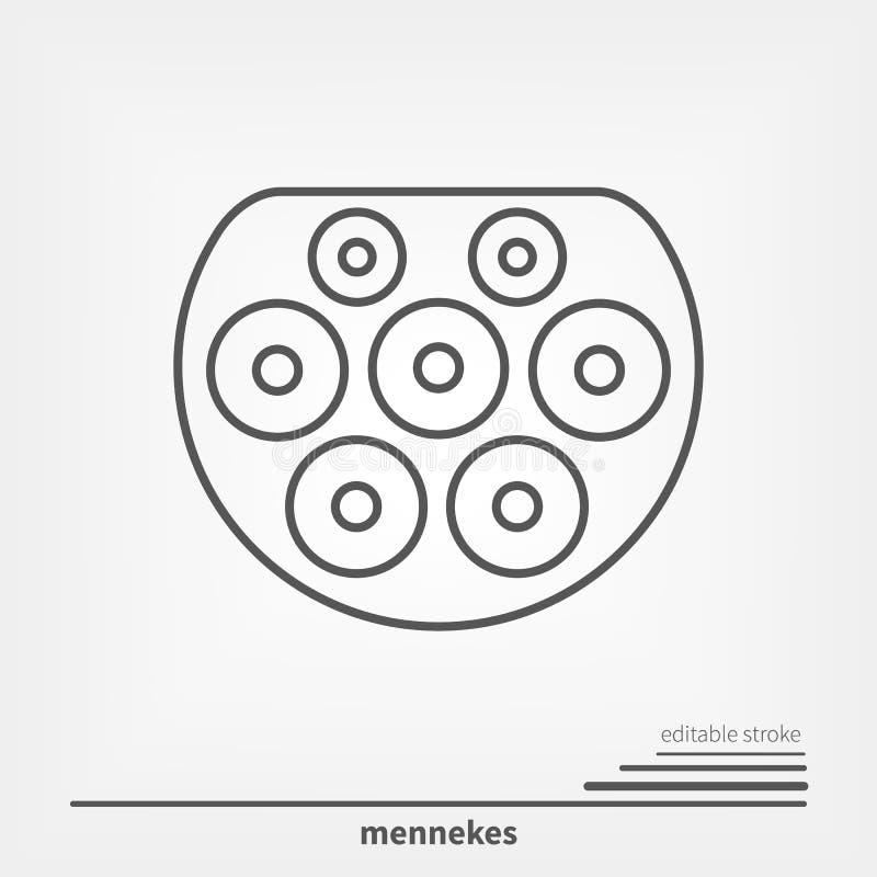 Ηλεκτρικός τύπος βουλωμάτων χρέωσης αυτοκινήτων - 2 Mennekes Ευρώπη Editable κτύπημα μαγισσών εικονιδίων γραμμών ελεύθερη απεικόνιση δικαιώματος