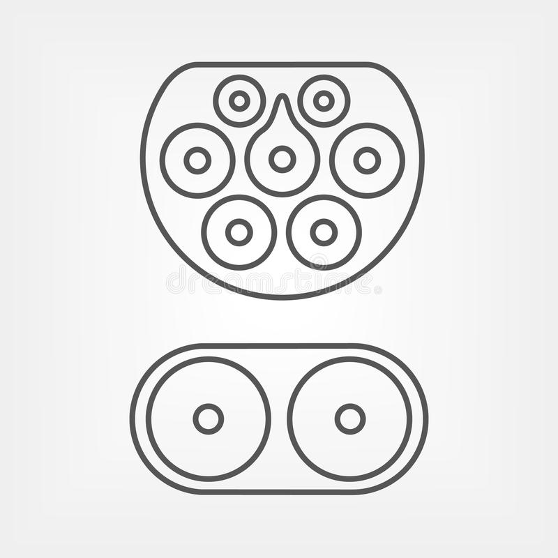 Ηλεκτρικός τύπος βουλωμάτων χρέωσης αυτοκινήτων - 2 Mennekes CCS Combo 2, Ευρώπη Editable κτύπημα μαγισσών εικονιδίων γραμμών απεικόνιση αποθεμάτων