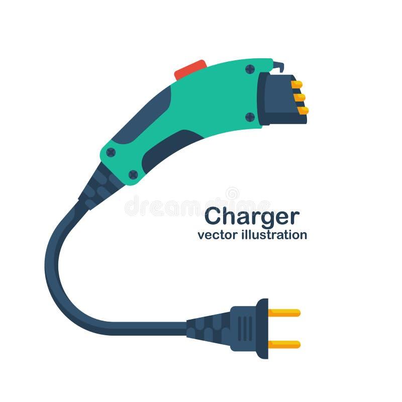 Ηλεκτρικός φορτιστής αυτοκινήτων που απομονώνεται στο άσπρο υπόβαθρο διανυσματική απεικόνιση