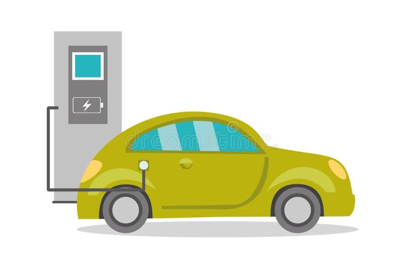 Ηλεκτρικό αυτοκίνητο κινούμενων σχεδίων στην επαναφόρτιση, ελεύθερη απεικόνιση δικαιώματος