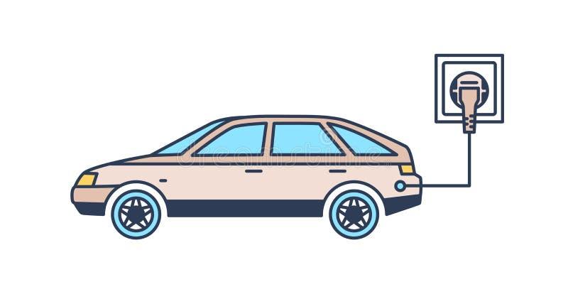 Ηλεκτρικό αυτοκίνητο με το βούλωμα που χρεώνει στην επαναφόρτιση του σταθμού Πράσινο ή φιλικό προς το περιβάλλον όχημα, βιώσιμος  ελεύθερη απεικόνιση δικαιώματος