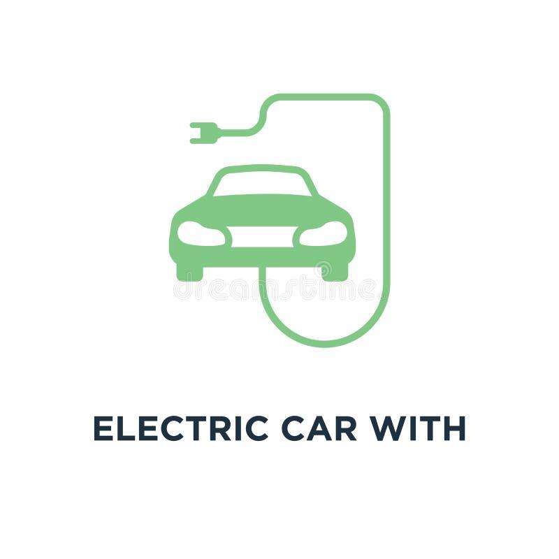 ηλεκτρικό αυτοκίνητο με το εικονίδιο βουλωμάτων ev σχέδιο συμβόλων έννοιας, γραμμικό VE ελεύθερη απεικόνιση δικαιώματος