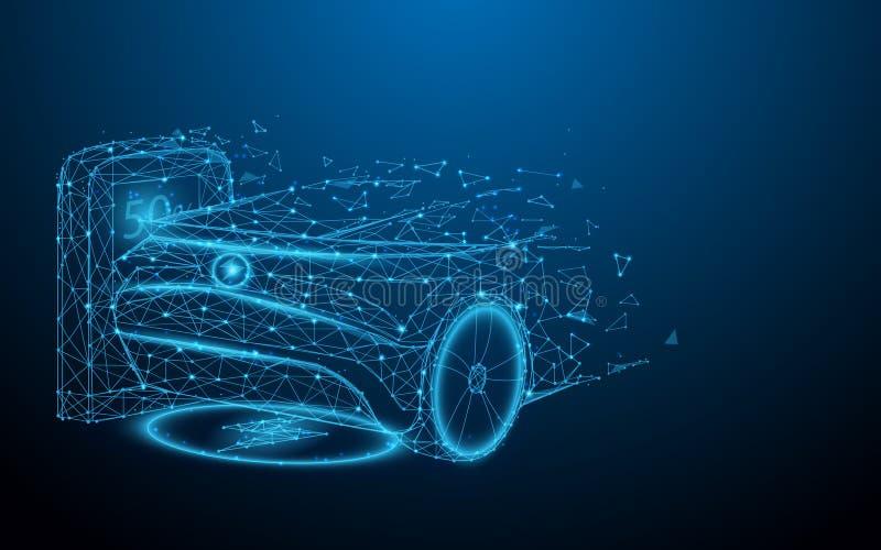Ηλεκτρικό αυτοκίνητο στο σταθμό χρέωσης από τις γραμμές, τα τρίγωνα και το σχέδιο ύφους μορίων απεικόνιση αποθεμάτων