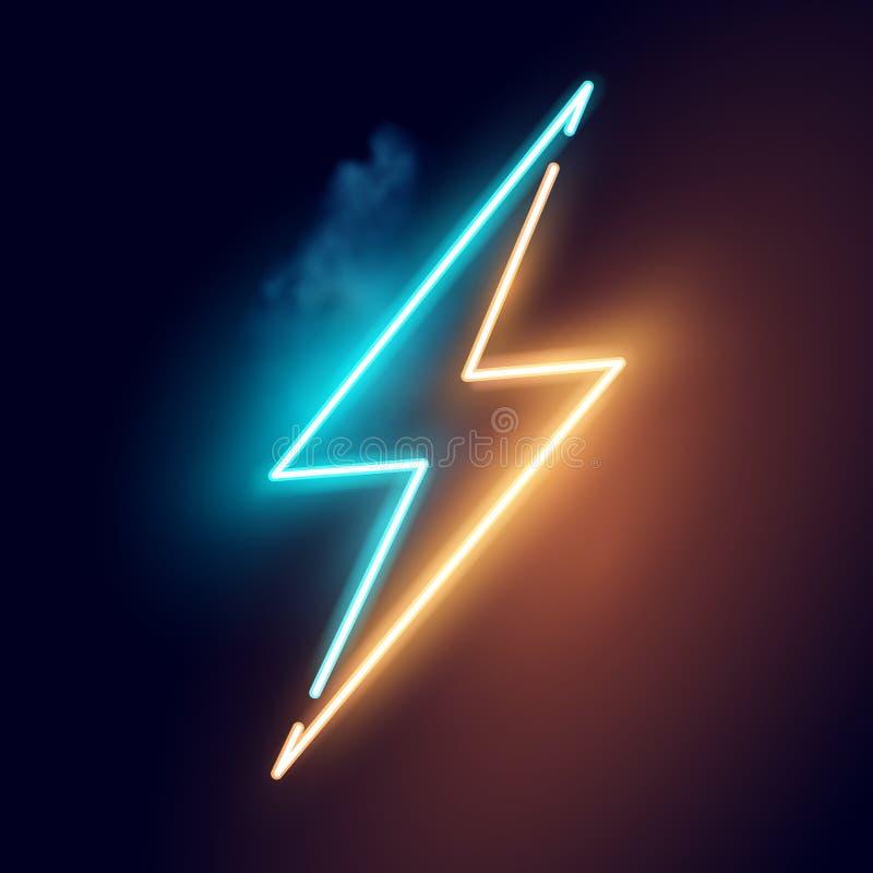 Ηλεκτρικό διάνυσμα σημαδιών νέου μπουλονιών αστραπής διανυσματική απεικόνιση