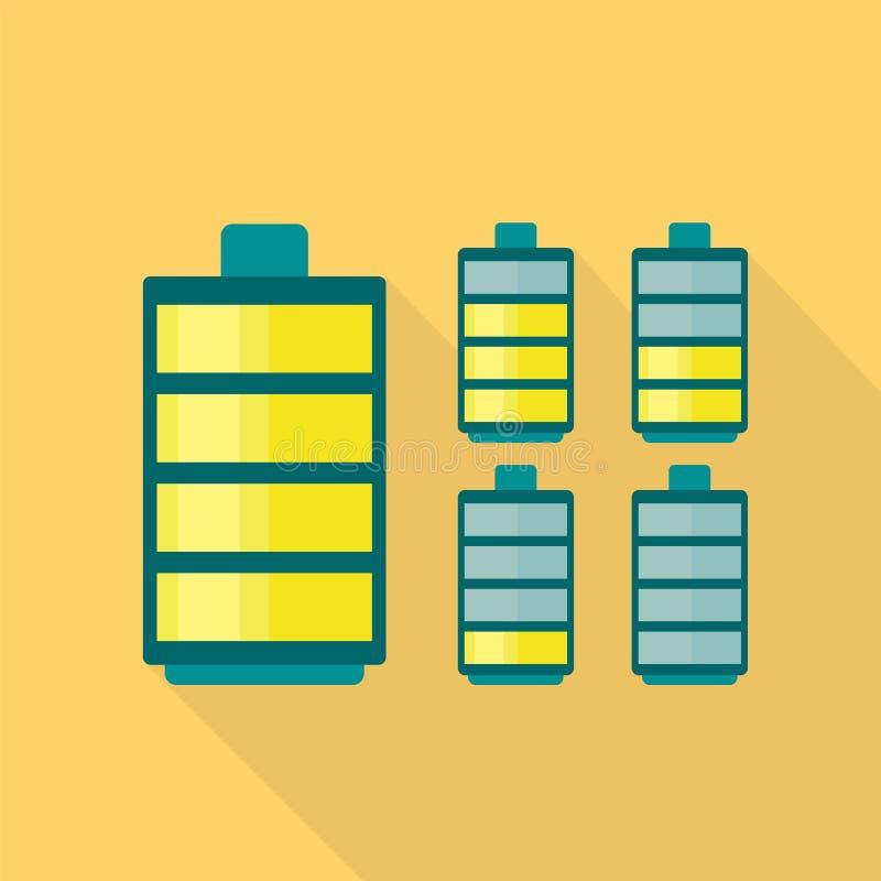 Ηλεκτρικό εικονίδιο μπαταριών, επίπεδο ύφος ελεύθερη απεικόνιση δικαιώματος