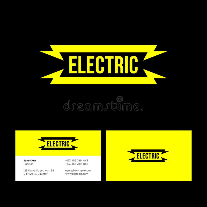 Ηλεκτρικό κίτρινο επίπεδο λογότυπο με την αστραπή στο σκοτεινό υπόβαθρο διανυσματική απεικόνιση