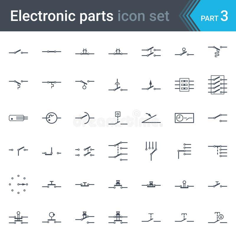 Ηλεκτρικό και ηλεκτρονικό σύνολο συμβόλων διαγραμμάτων κυκλώματος διακοπτών, μπουτόν και διακοπτών κυκλωμάτων ελεύθερη απεικόνιση δικαιώματος