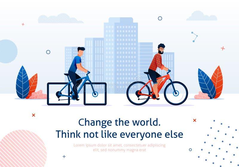 Ηλεκτρικό ποδήλατο γύρου ατόμων παγκόσμιων κινούμενων σχεδίων αλλαγής ελεύθερη απεικόνιση δικαιώματος