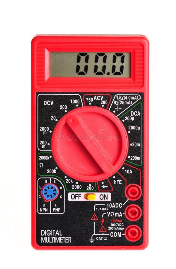 Ηλεκτρικό πολύμετρο με την ψηφιακή παρουσίαση στο λευκό στοκ εικόνα με δικαίωμα ελεύθερης χρήσης