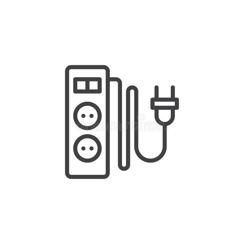 Ηλεκτρικό σκοινί επέκτασης με το εικονίδιο γραμμών δύο αυλακώσεων απεικόνιση αποθεμάτων