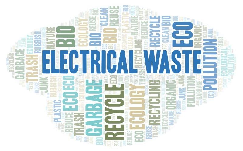 Ηλεκτρικό σύννεφο λέξης αποβλήτων απεικόνιση αποθεμάτων