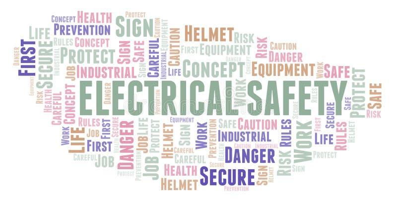 Ηλεκτρικό σύννεφο λέξης ασφάλειας ελεύθερη απεικόνιση δικαιώματος