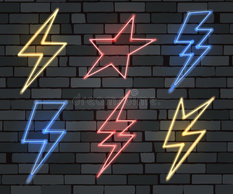 Ηλεκτρικό σύνολο σημαδιών αστραπής νέου διανυσματική απεικόνιση