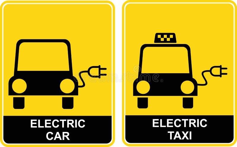 ηλεκτρικό ταξί σημαδιών αυ διανυσματική απεικόνιση