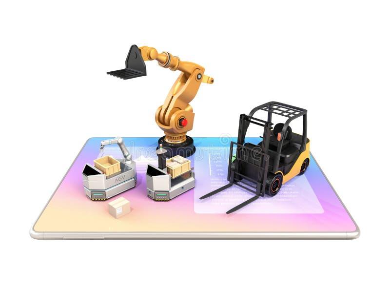 Ηλεκτρικό forklift, AGV και βιομηχανικό ρομπότ στο PC ταμπλετών απεικόνιση αποθεμάτων