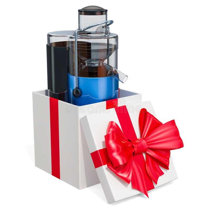 Ηλεκτρικό juicer μέσα στο κιβώτιο δώρων τρισδιάστατη απόδοση απομονωμένος στο άσπρο υπόβαθρο απεικόνιση αποθεμάτων