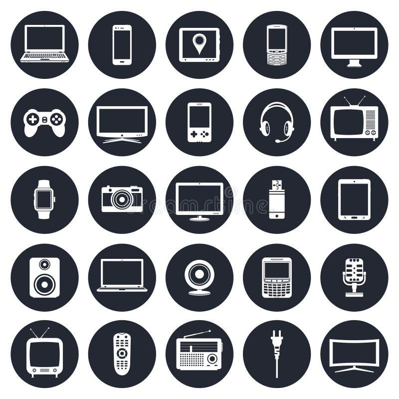 Ηλεκτρονικές συσκευές, εικονίδια συσκευών τεχνολογίας καθορισμένα ελεύθερη απεικόνιση δικαιώματος