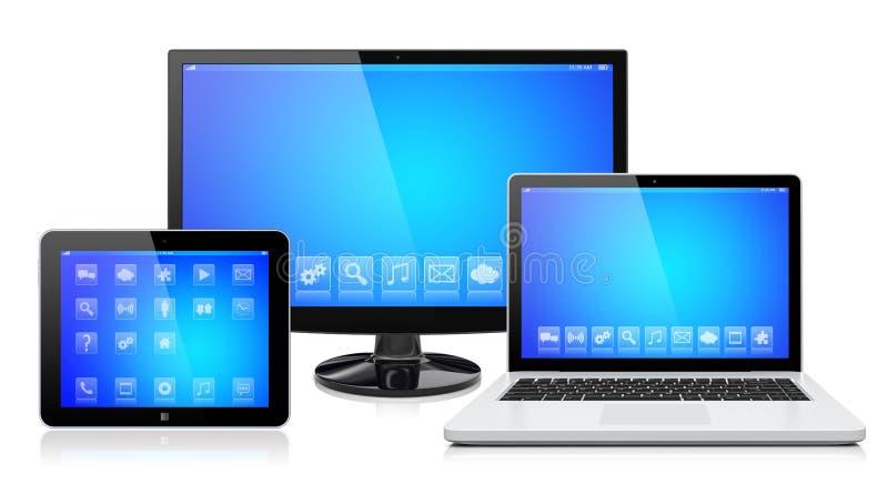 Ηλεκτρονικές συσκευές σε ένα λευκό διανυσματική απεικόνιση