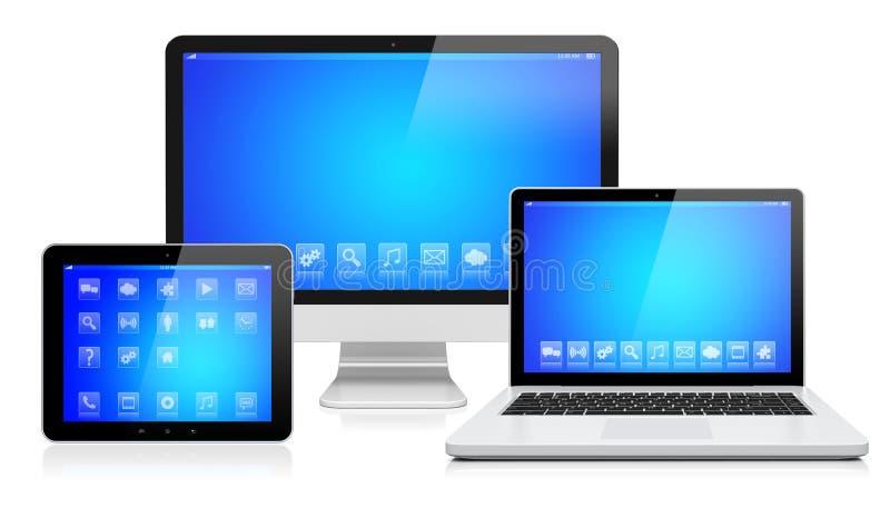 Ηλεκτρονικές συσκευές σε ένα λευκό απεικόνιση αποθεμάτων