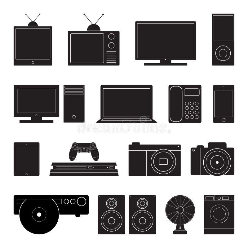 Ηλεκτρονική καθορισμένη διανυσματική απεικόνιση εικονιδίων τεχνολογίας Επίπεδο σημάδι που απομονώνεται στο άσπρο υπόβαθρο διανυσματική απεικόνιση