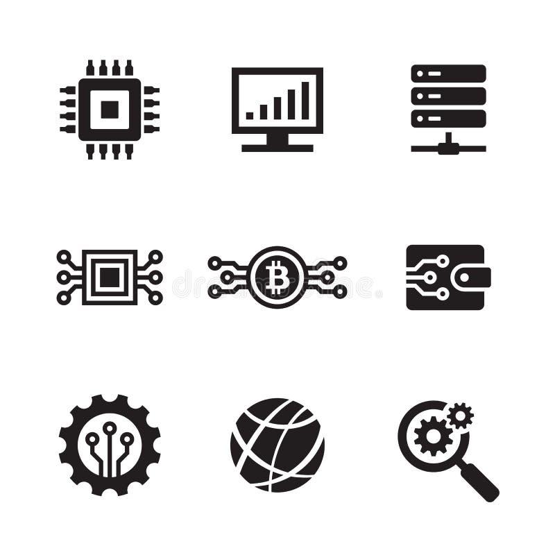 Ηλεκτρονική τεχνολογία υπολογιστών - μαύρο σύνολο σχεδίου εικονιδίων Ιστού Διανυσματικό σημάδι δικτύων διανυσματική απεικόνιση