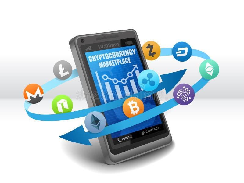 Ηλεκτρονική Crypto ανταλλαγή αγορών νομίσματος σε κινητό ελεύθερη απεικόνιση δικαιώματος