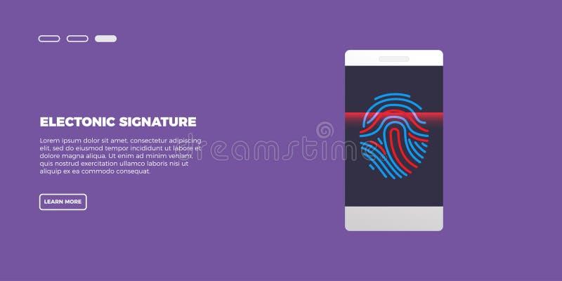 Ηλεκτρονικό δακτυλικό αποτύπωμα στο πέρασμα που ανιχνεύει την κινητή τηλεφωνική οθόνη, έλεγχος ασφαλείας Διανυσματική έννοια απει ελεύθερη απεικόνιση δικαιώματος