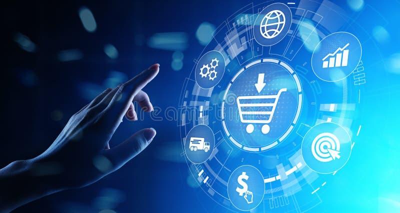 Ηλεκτρονικό εμπόριο, σε απευθείας σύνδεση επιχειρησιακή έννοια τεμαχισμού Διαδίκτυο στην εικονική οθόνη στοκ εικόνες