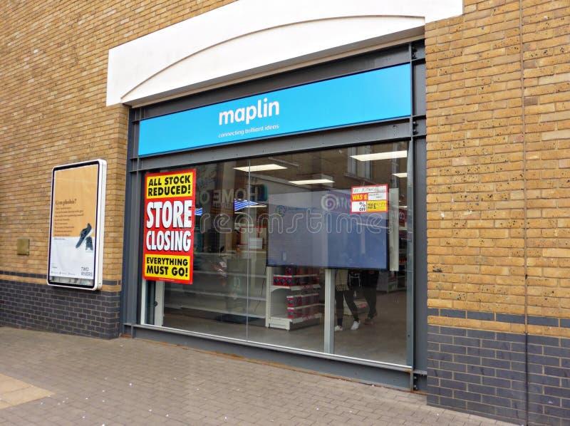 Ηλεκτρονικό κατάστημα Maplin σε Staines που κλείνει την πώληση στοκ εικόνα