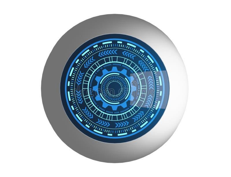 Ηλεκτρονικό μπλε μάτι και ασφάλεια HUD cyber μέσα της τεχνολογίας απεικόνιση αποθεμάτων