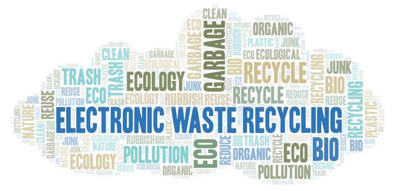 Ηλεκτρονικό σύννεφο λέξης ανακύκλωσης αποβλήτων απεικόνιση αποθεμάτων