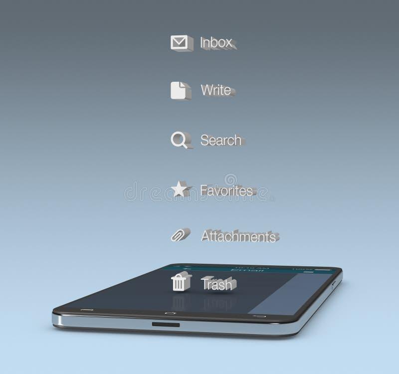 Ηλεκτρονικό ταχυδρομείο κινητό app διανυσματική απεικόνιση