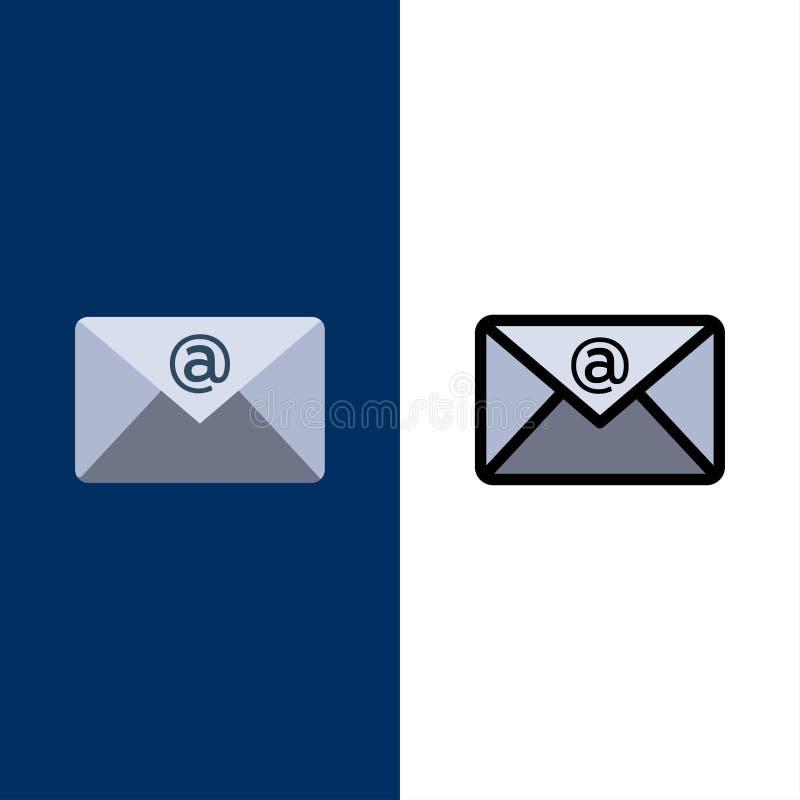 Ηλεκτρονικό ταχυδρομείο, Inbox, εικονίδια ταχυδρομείου Επίπεδος και γραμμή γέμισε το καθορισμένο διανυσματικό μπλε υπόβαθρο εικον διανυσματική απεικόνιση