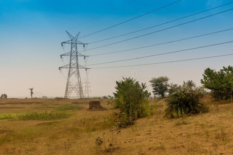 Ηλεκτροφόρα καλώδια υψηλής τάσης, Purulia, δυτική Βεγγάλη, Ινδία στοκ φωτογραφίες με δικαίωμα ελεύθερης χρήσης