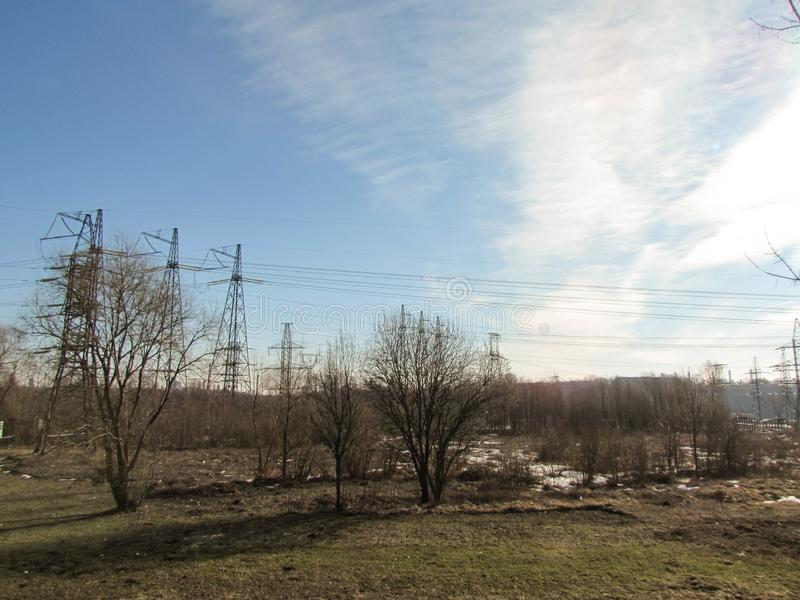 Ηλεκτροφόρο καλώδιο στη Μόσχα στοκ εικόνα με δικαίωμα ελεύθερης χρήσης