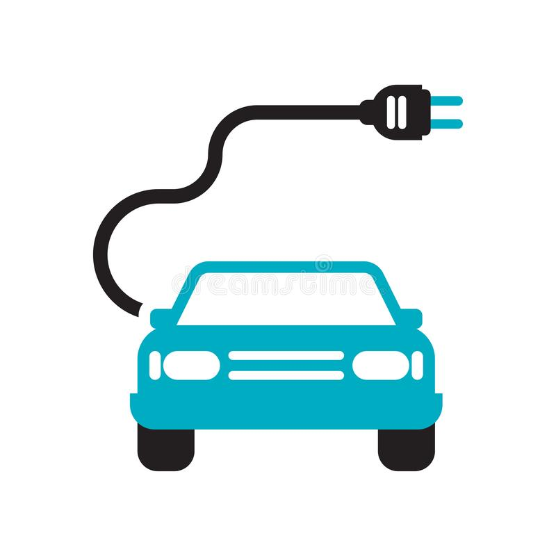 Ηλεκτρο σημάδι και σύμβολο εικονιδίων αυτοκινήτων διανυσματικά που απομονώνονται στο άσπρο υπόβαθρο, ηλεκτρο έννοια λογότυπων αυτ ελεύθερη απεικόνιση δικαιώματος