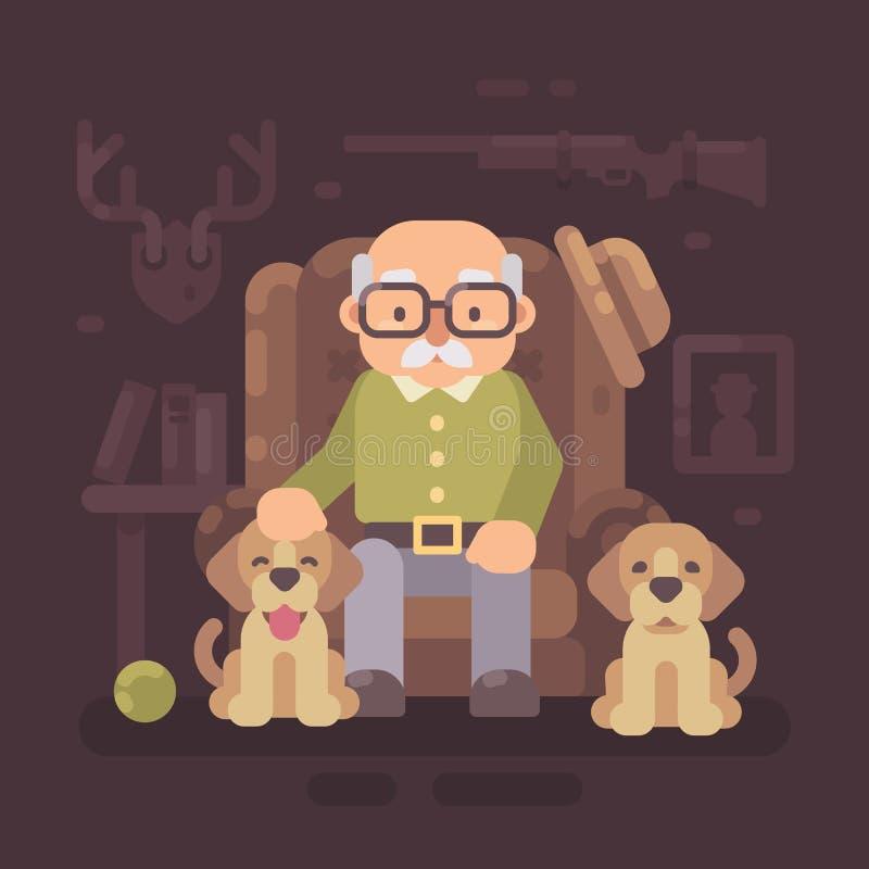 Ηληκιωμένος που στηρίζεται στην πολυθρόνα με δύο σκυλιά του Ο ανώτερος κυνηγός κάθεται ελεύθερη απεικόνιση δικαιώματος