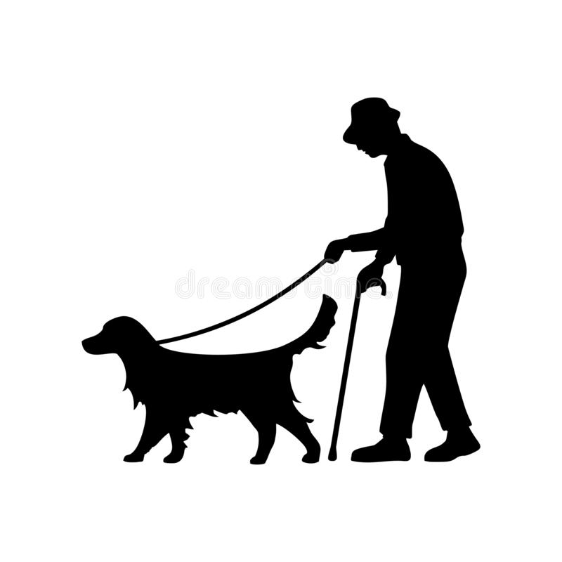 Ηληκιωμένος τυφλός με το περπάτημα σκυλιών οδηγών Διανυσματικό επίπεδο εικονίδιο ελεύθερη απεικόνιση δικαιώματος