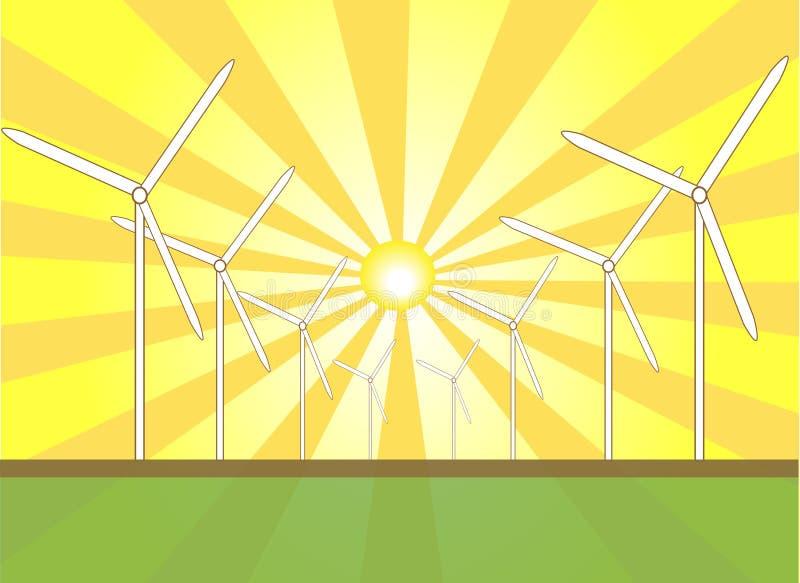 ηλιακός αέρας μύλων απεικόνιση αποθεμάτων