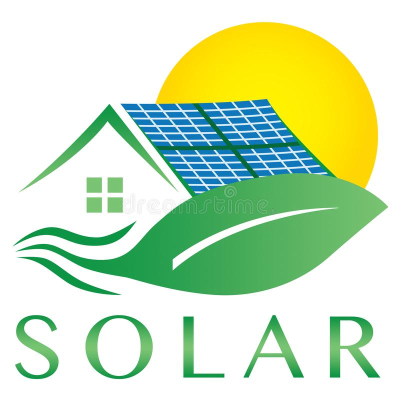 Ηλιακό εικονίδιο λογότυπων σπιτιών ηλεκτρικής ενέργειας τροφοδοτημένο ενέργεια ελεύθερη απεικόνιση δικαιώματος