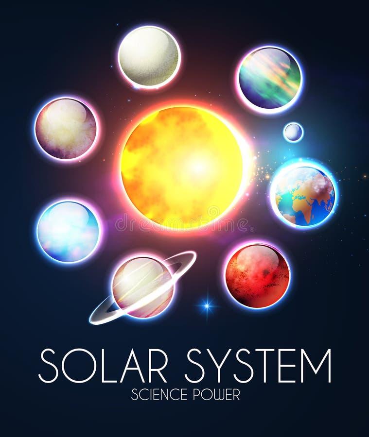 Ηλιακό σύστημα με τους κομψούς ρεαλιστικούς πλανήτες και το λάμποντας ήλιο ελεύθερη απεικόνιση δικαιώματος