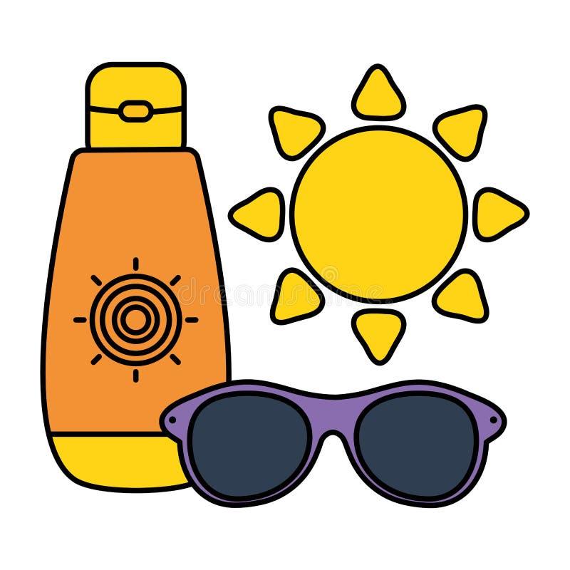 Ηλιακό blocker μπουκάλι με τα γυαλιά ηλίου και τον ήλιο απεικόνιση αποθεμάτων