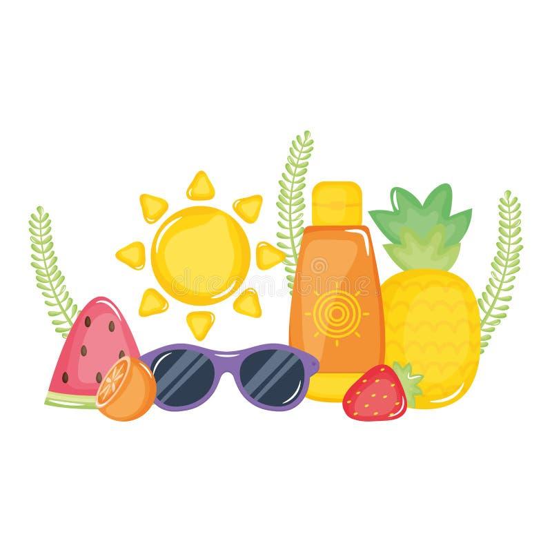 Ηλιακό blocker μπουκάλι με τα φρούτα και τα γυαλιά ηλίου απεικόνιση αποθεμάτων
