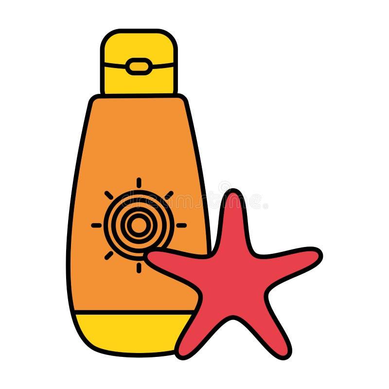 Ηλιακό blocker μπουκάλι με τον αστερία διανυσματική απεικόνιση
