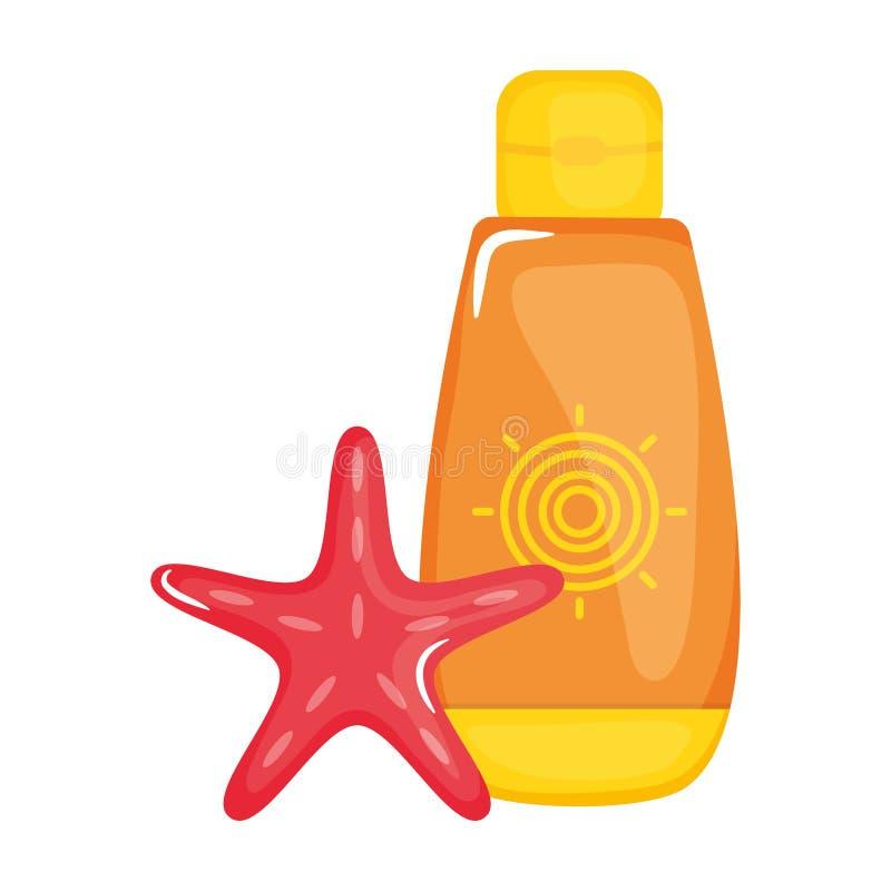 Ηλιακό blocker μπουκάλι με τον αστερία απεικόνιση αποθεμάτων