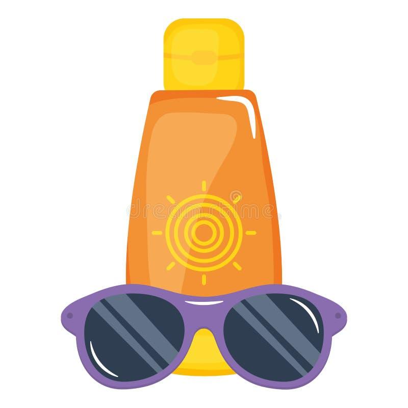 Ηλιακό blocker μπουκάλι με το εξάρτημα γυαλιών ηλίου απεικόνιση αποθεμάτων